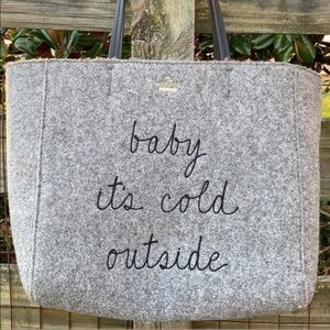 Kate Spade It's Cold Outside Wool Bag Rare Tote